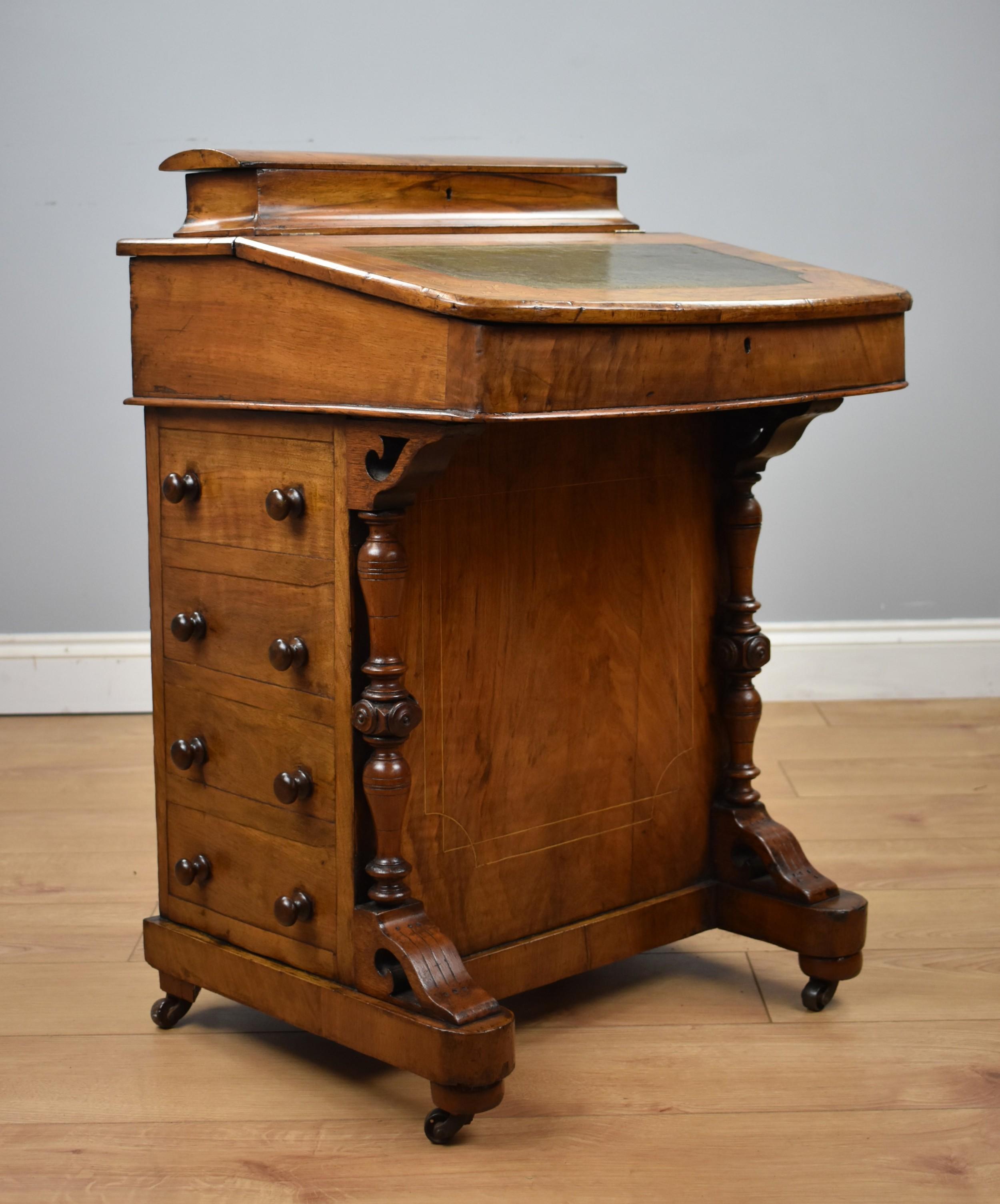 19th century victorian walnut inlaid davenport