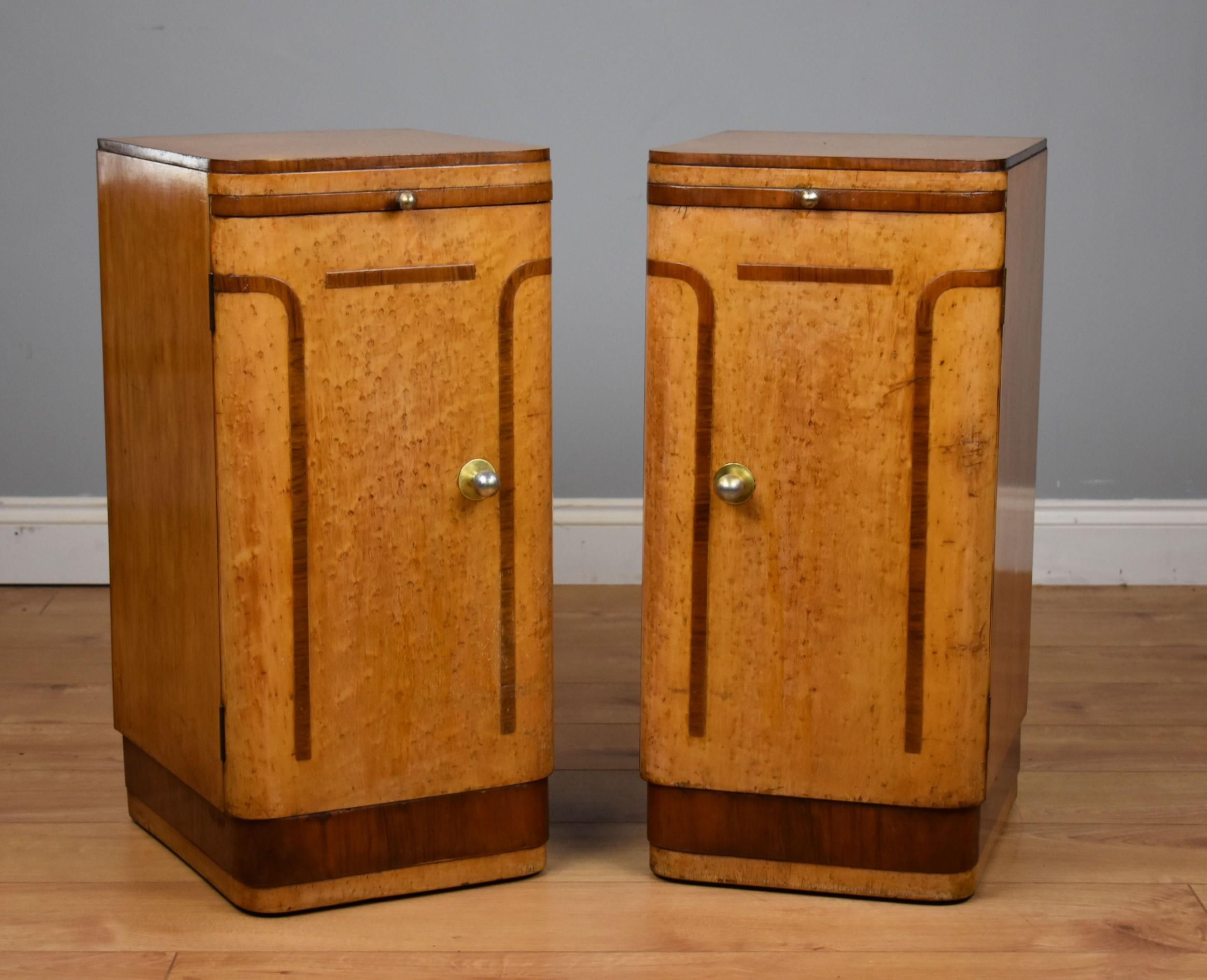 pair of art deco birdseye maple bedside cupboards