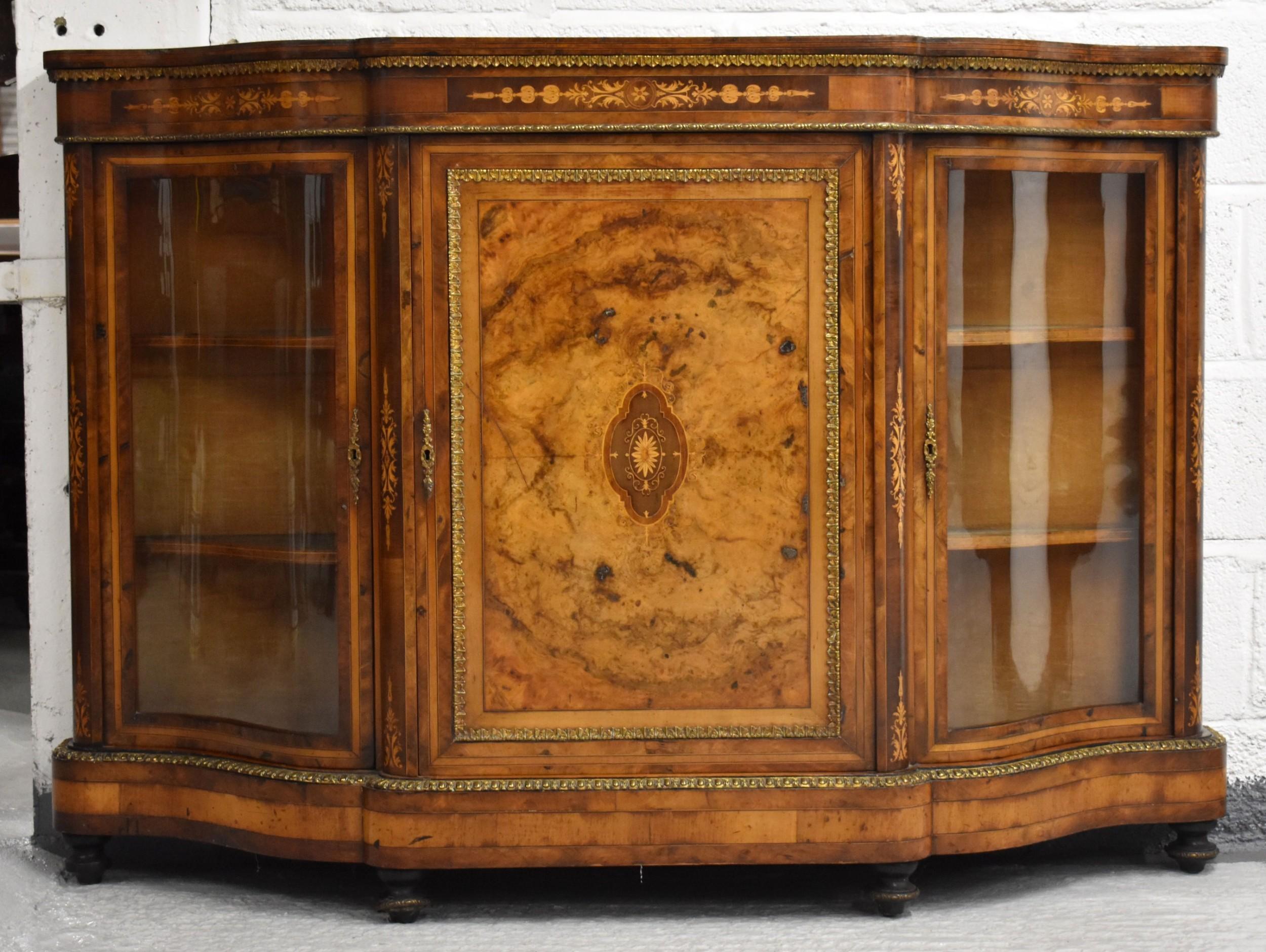 victorian burr walnut inlaid serpentine credenza