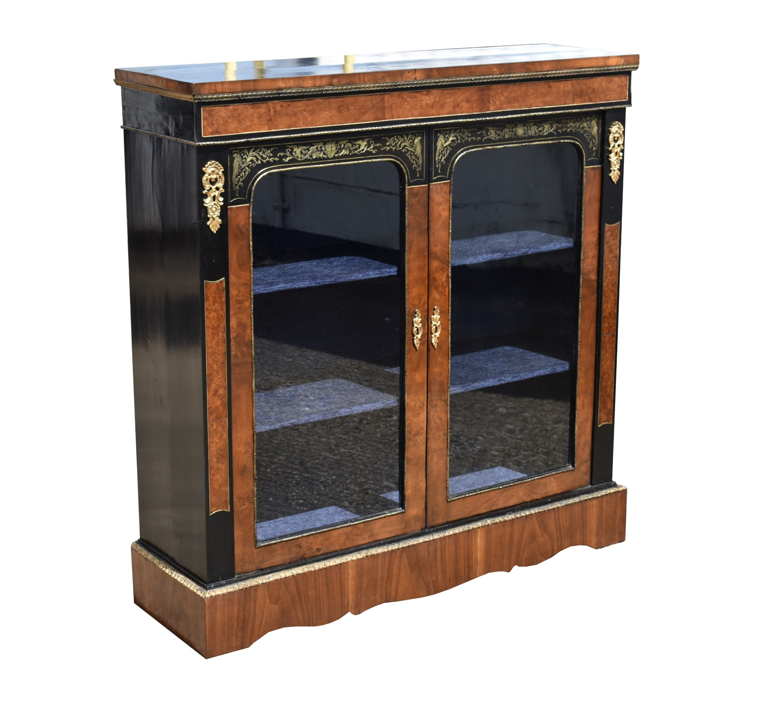 victorian walnut and ebonised pier cabinet