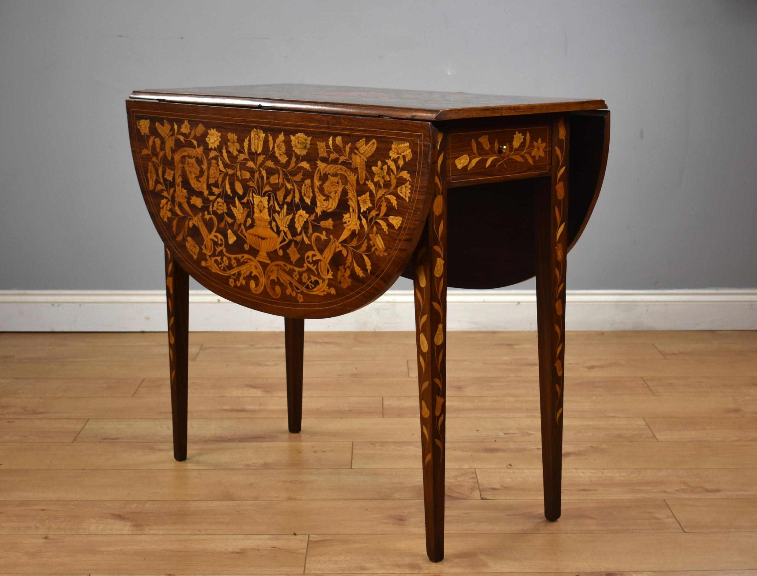 19th century dutch marquetry drop leaf table