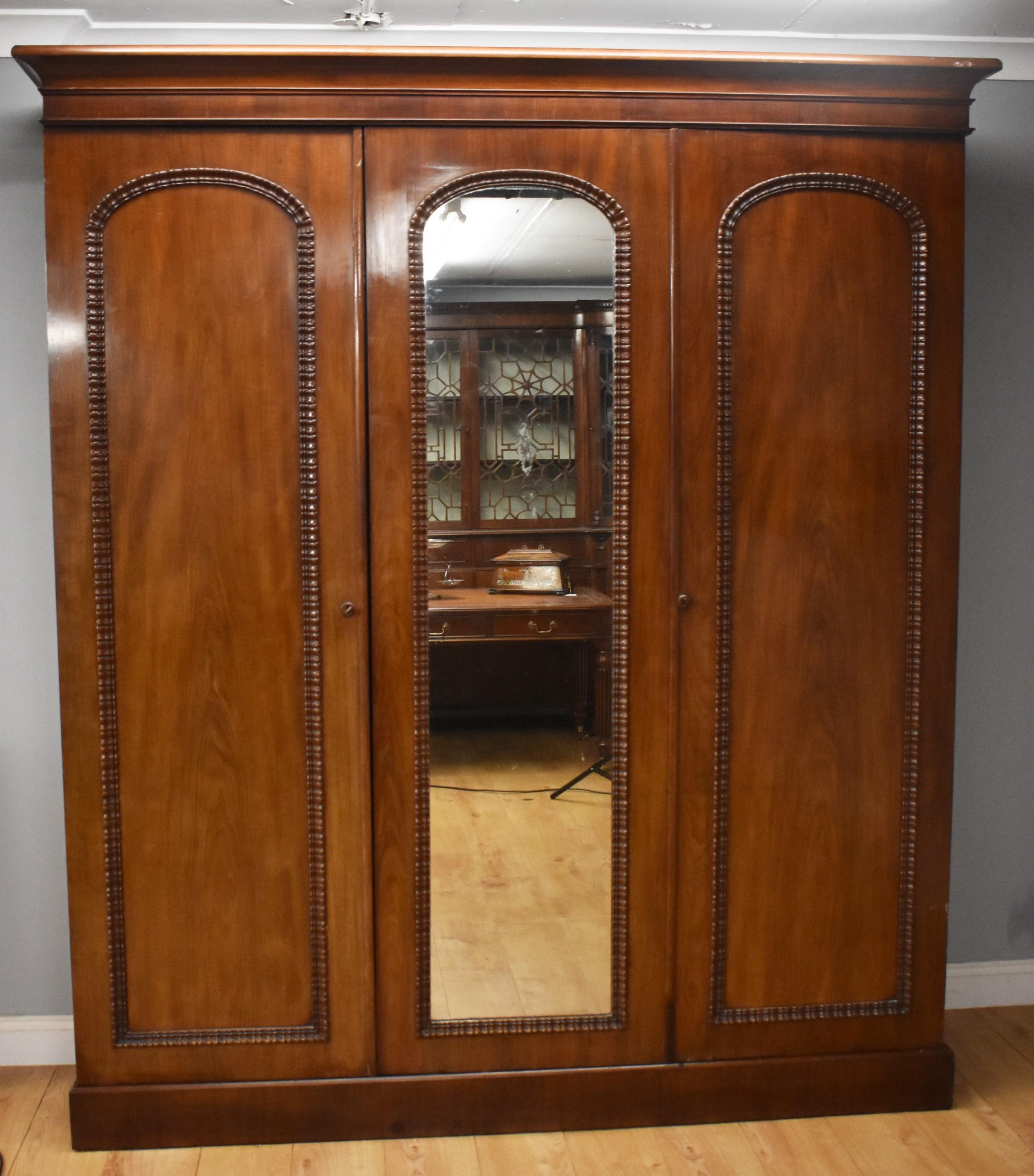 victorian mahogany three door wardrobe