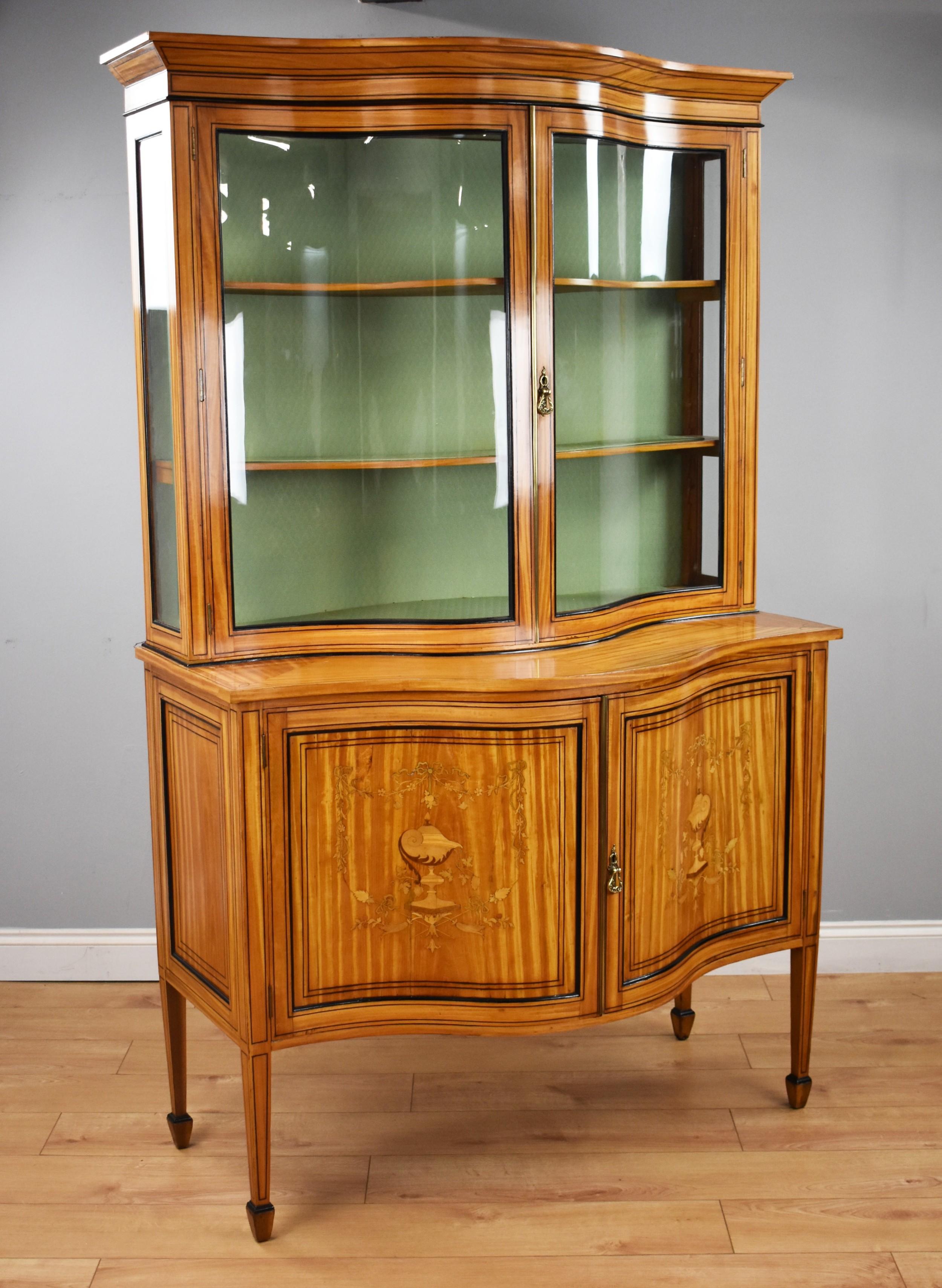 19th century satinwood serpentine display cabinet