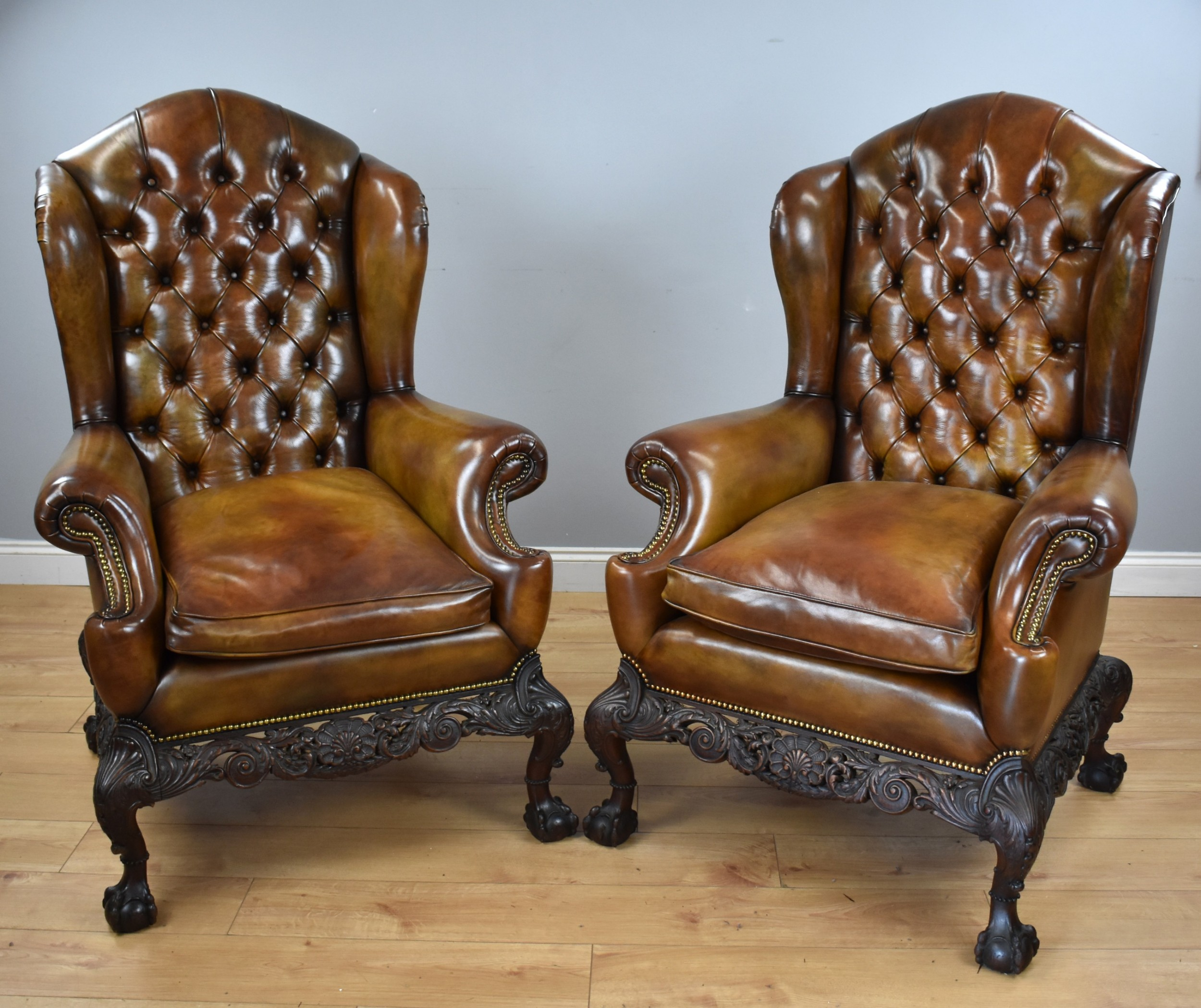pair of victorian hand dyed leather wing back armchairs