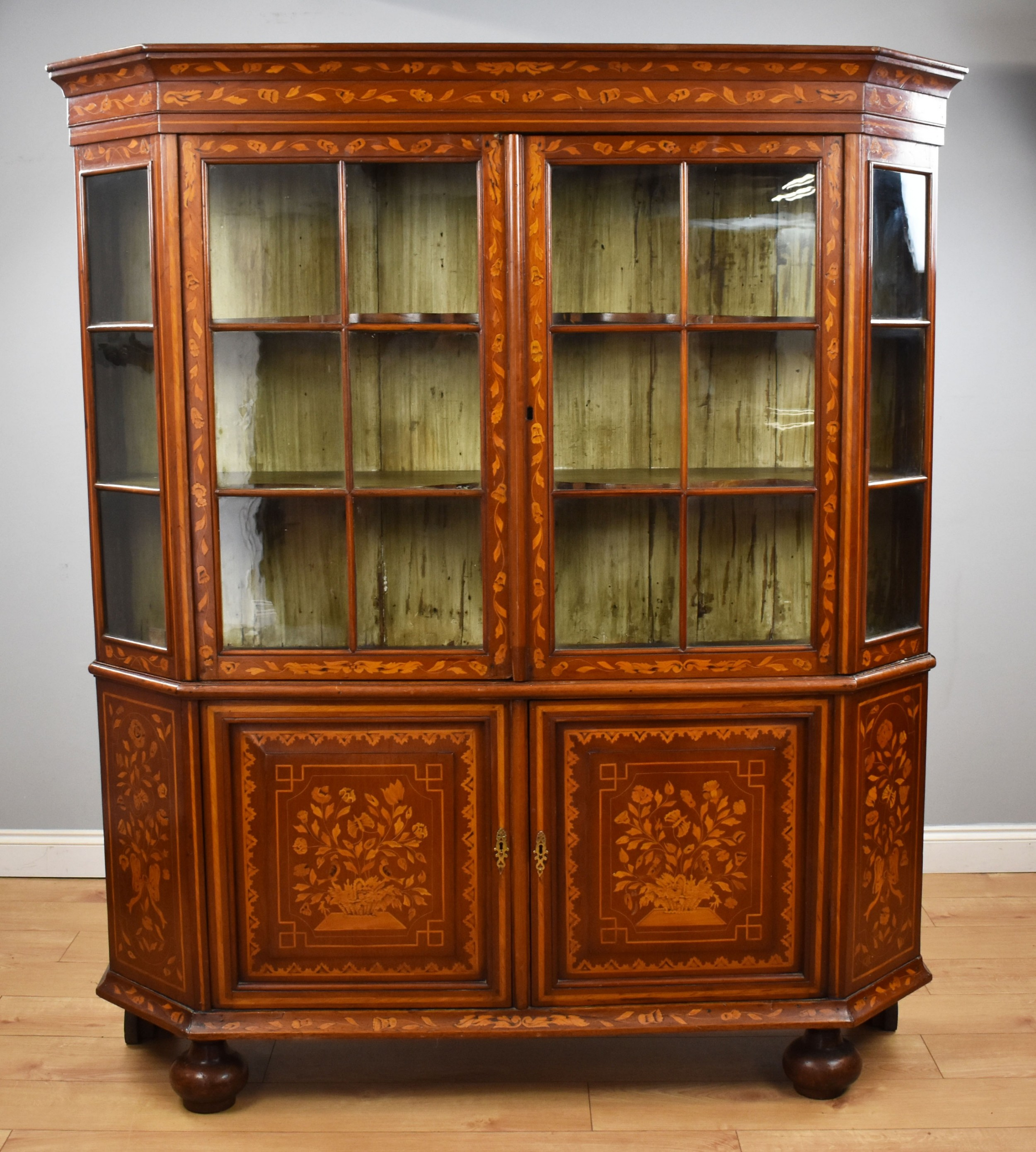 19th century dutch marquetry display cabinet