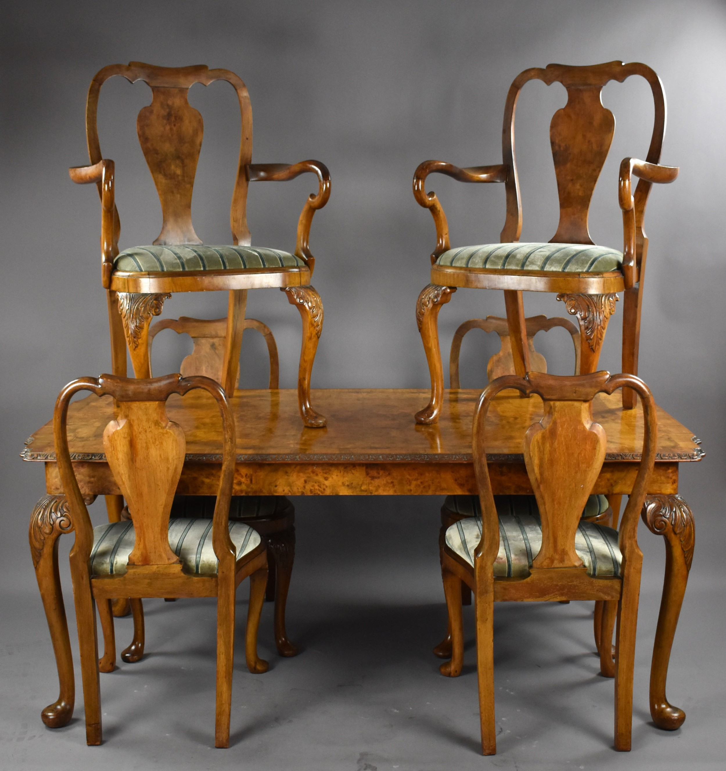 queen anne style burr walnut table chairs