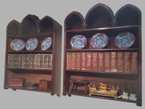 pair of william iv mahogany hanging shelves