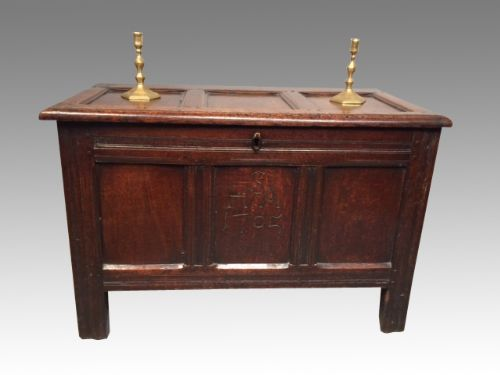 small queen anne dated oak coffer
