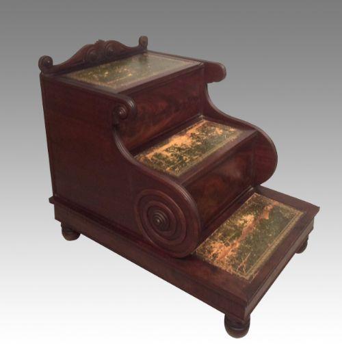 antique mahogany library steps