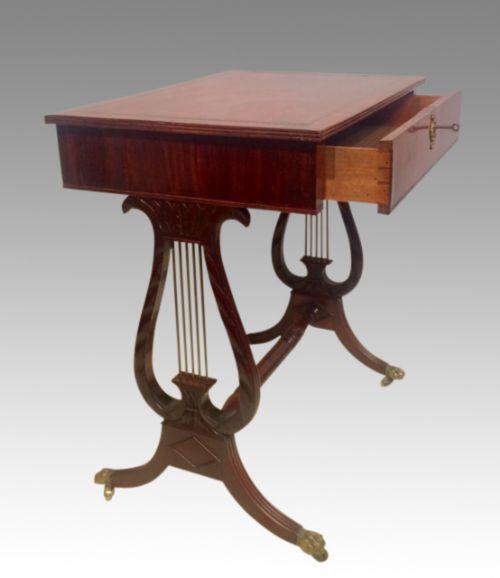 regency mahogany lyre ended writing table