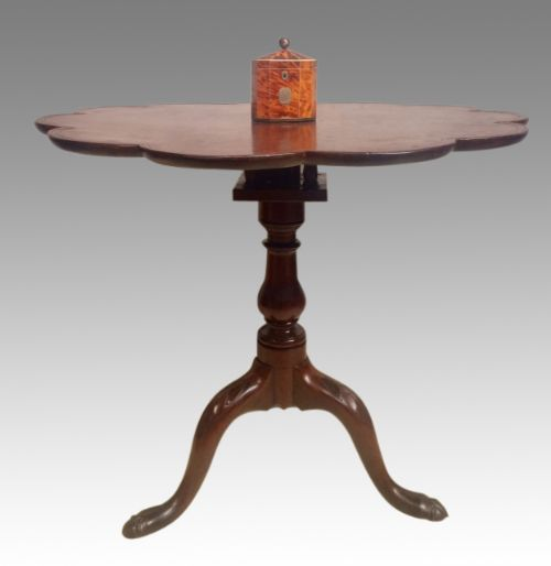 georgian mahogany tripod table with sunflower top