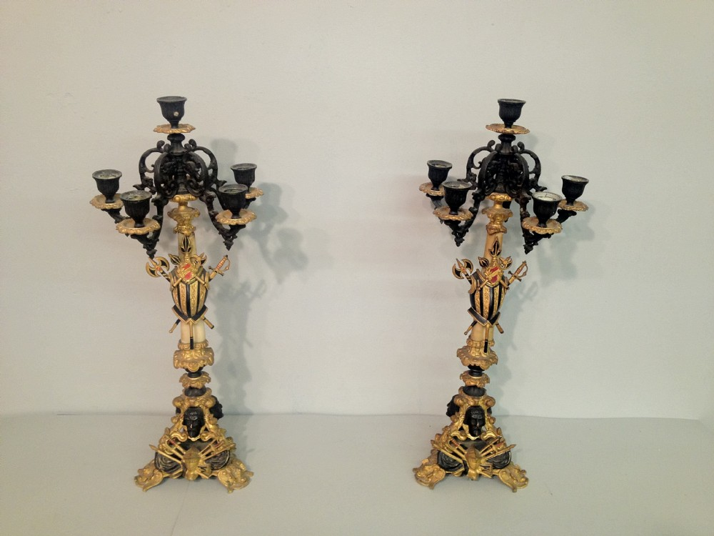 pair of bronze and ormolu candleabra
