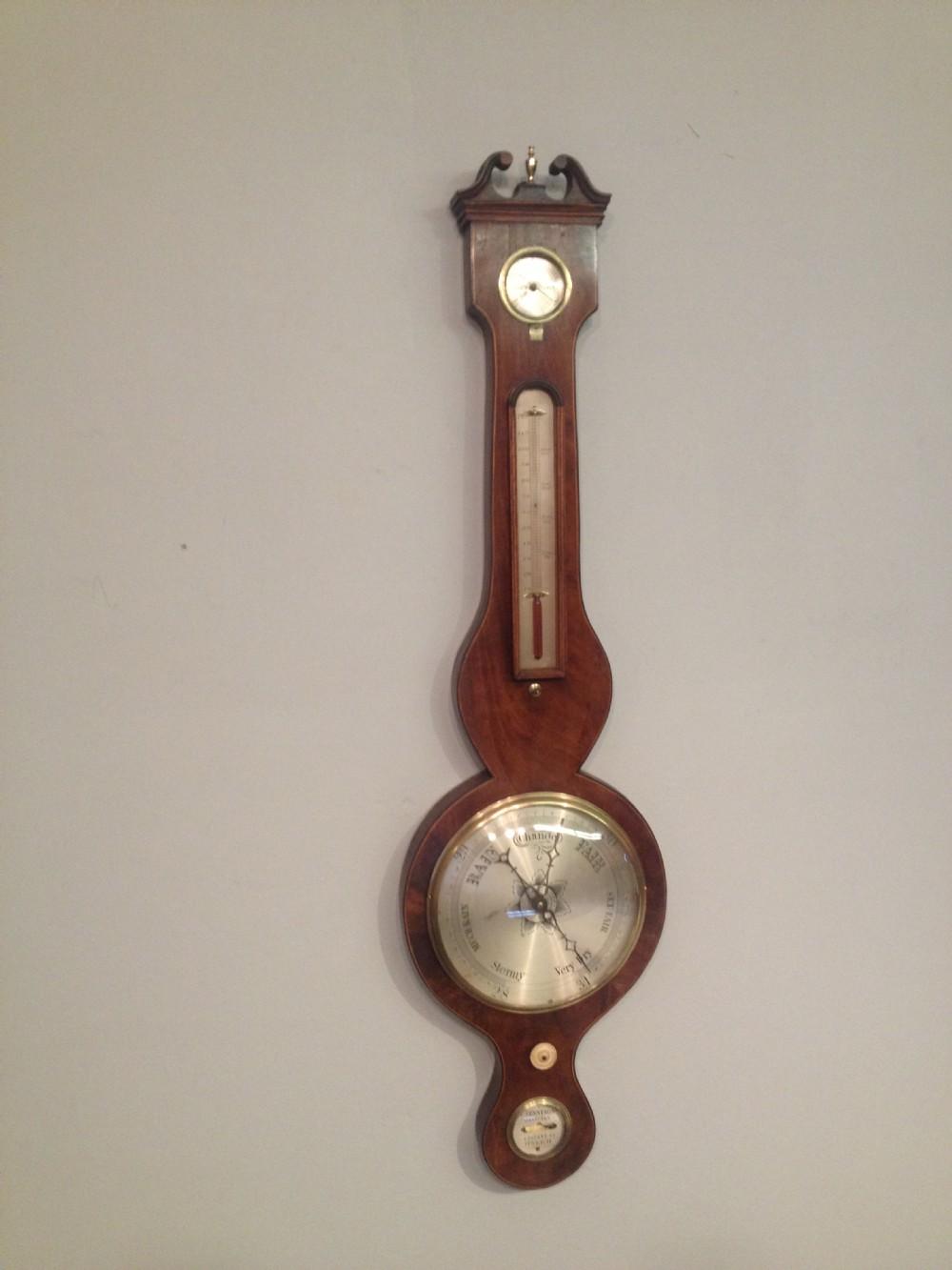 georgian mahogany cased wheel barometer