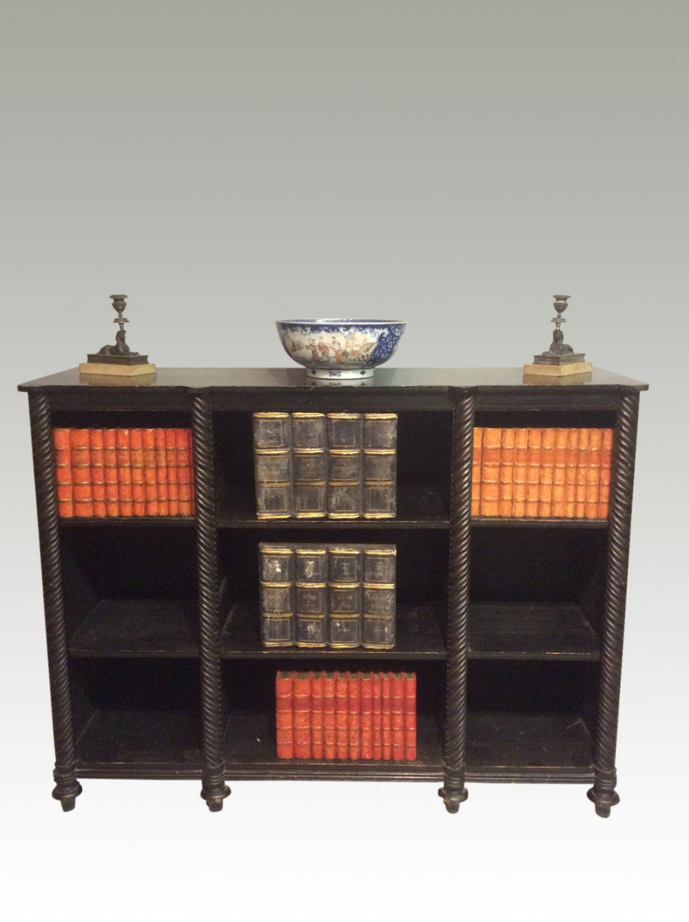 Regency Black And Gilt Painted Open Bookcase 445464