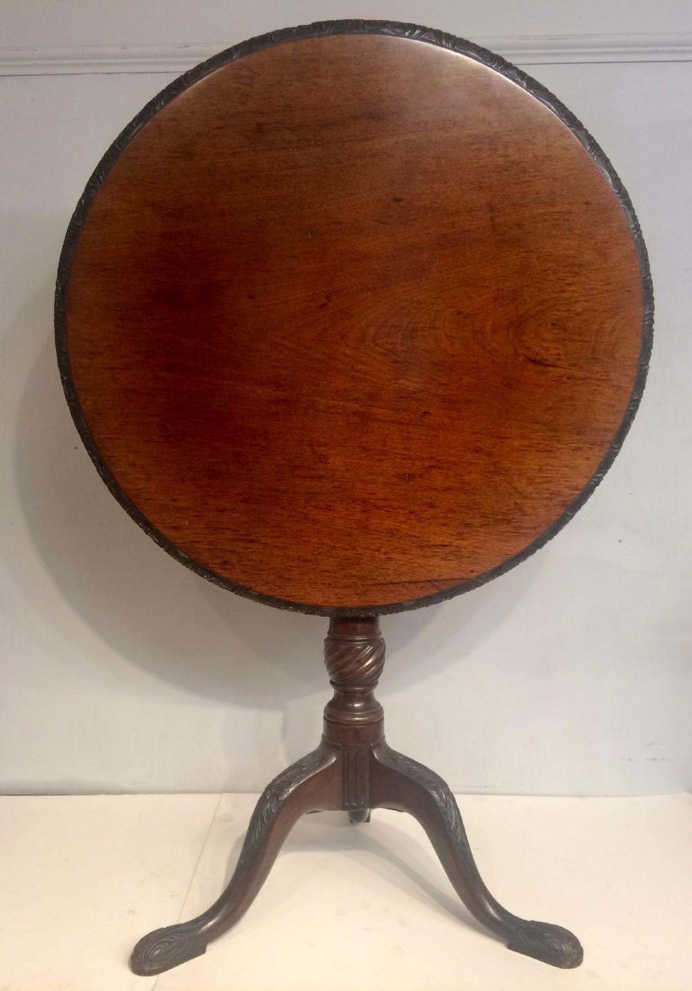 antique irish mahogany tripod table