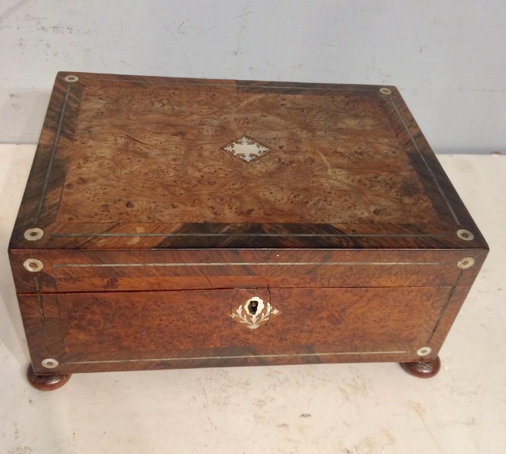 19th century irish burr yew and rosewood workbox
