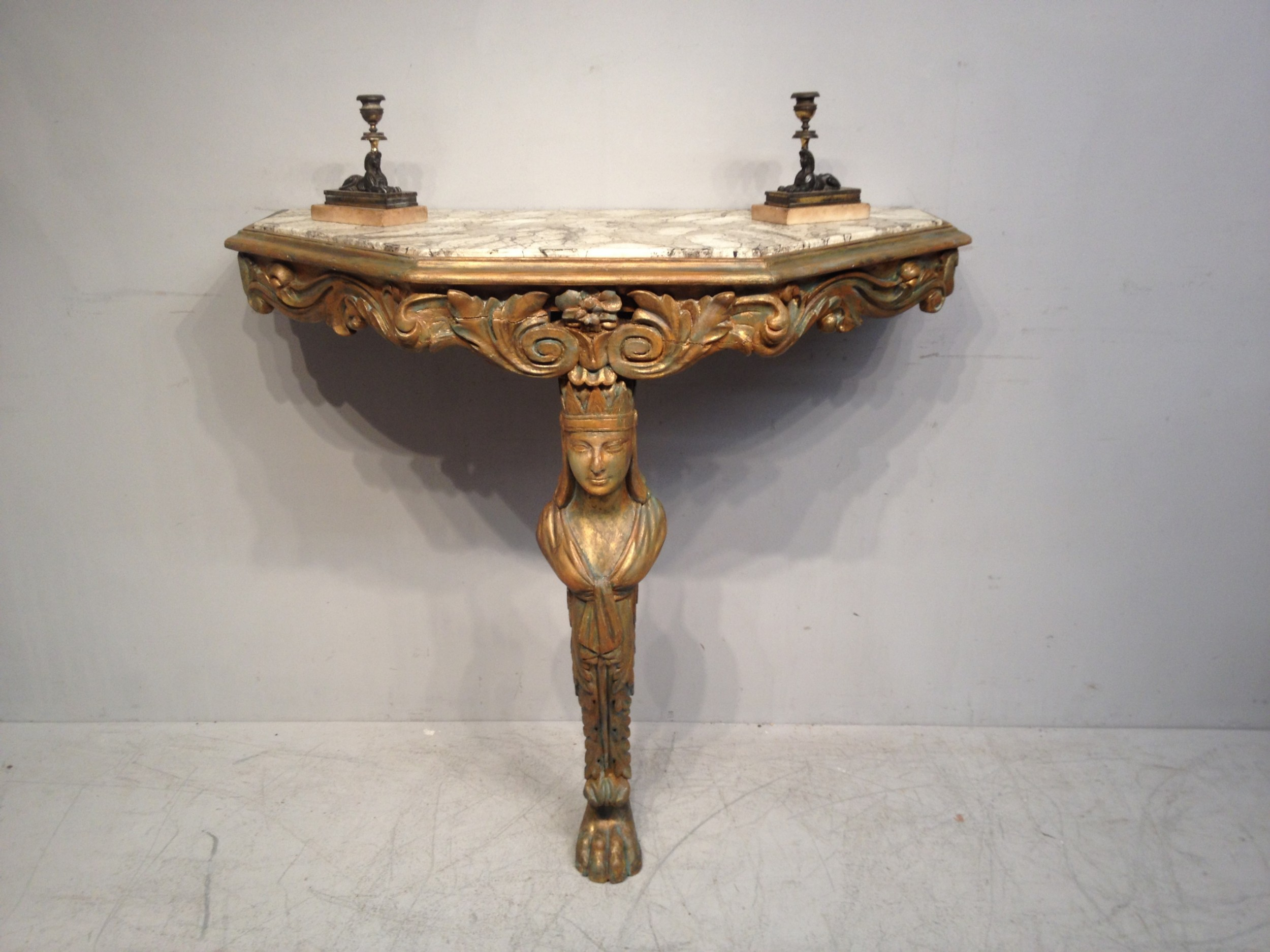 decorative carved giltwood and painted console table