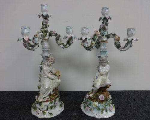 stunning pair german dresden candelabra