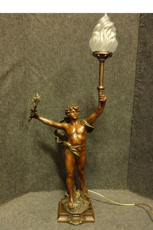 lovely french spelter lamp 'primax'