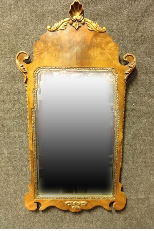 burr walnut and parcel gilt mirror
