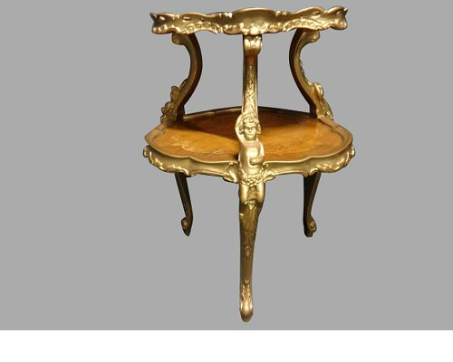 walnut marquetry and gilt etagere occasional table