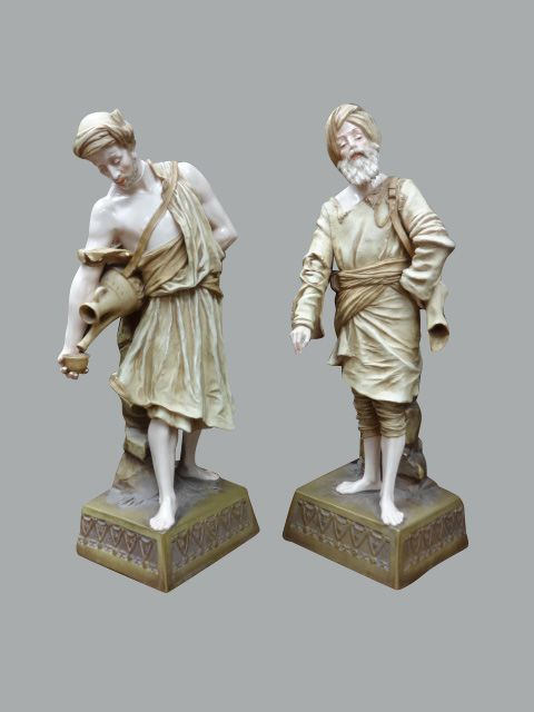 large pair turn porcelain figures 'watercarriers'