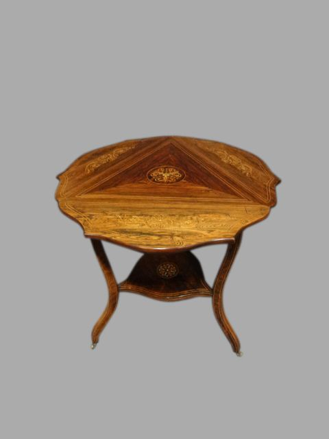 top quality rosewood inlaid dropleaf occasional table