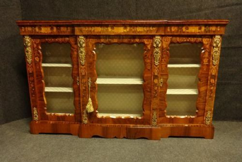 outstanding floral marquetry victorian credenza bookcase