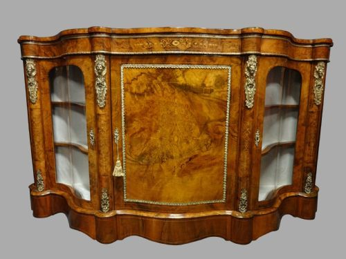 superb victorian burr walnut inlaid serpentine credenza
