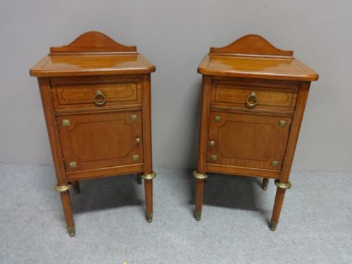 top quality pair of french satinwood bedside cabinets