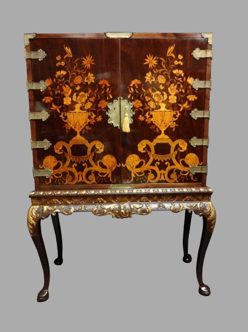 outstanding marquetry cabinet on stand