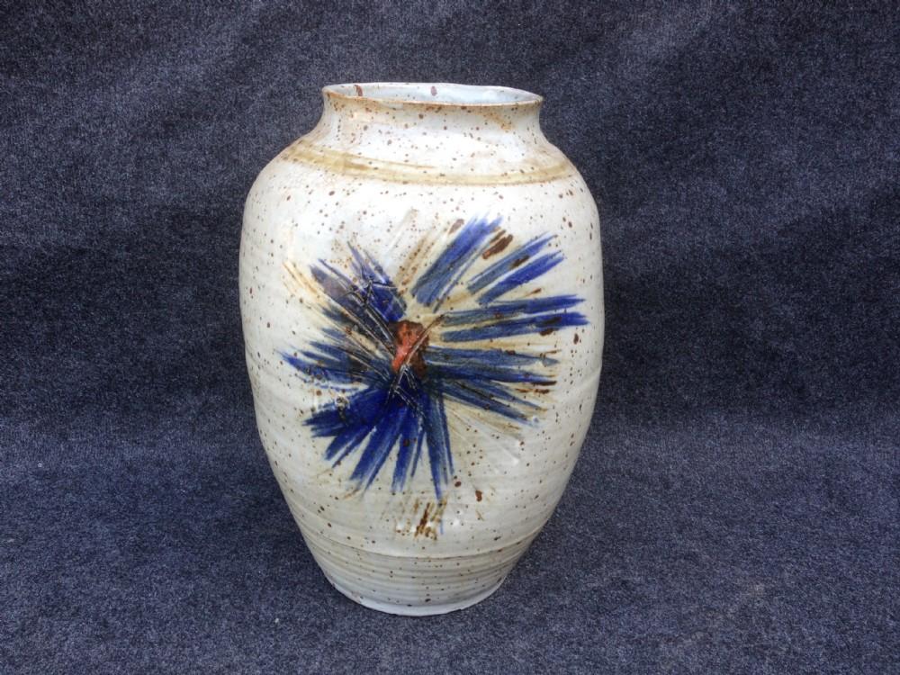 large signed oval studio pottery vase