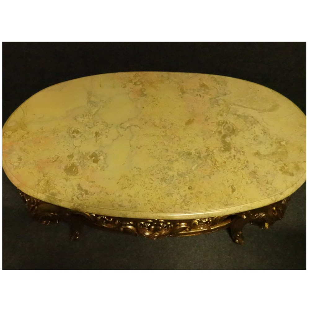 Marble Topped Gilt Coffee Table C 1920: Marble Topped Gilt Coffee Table