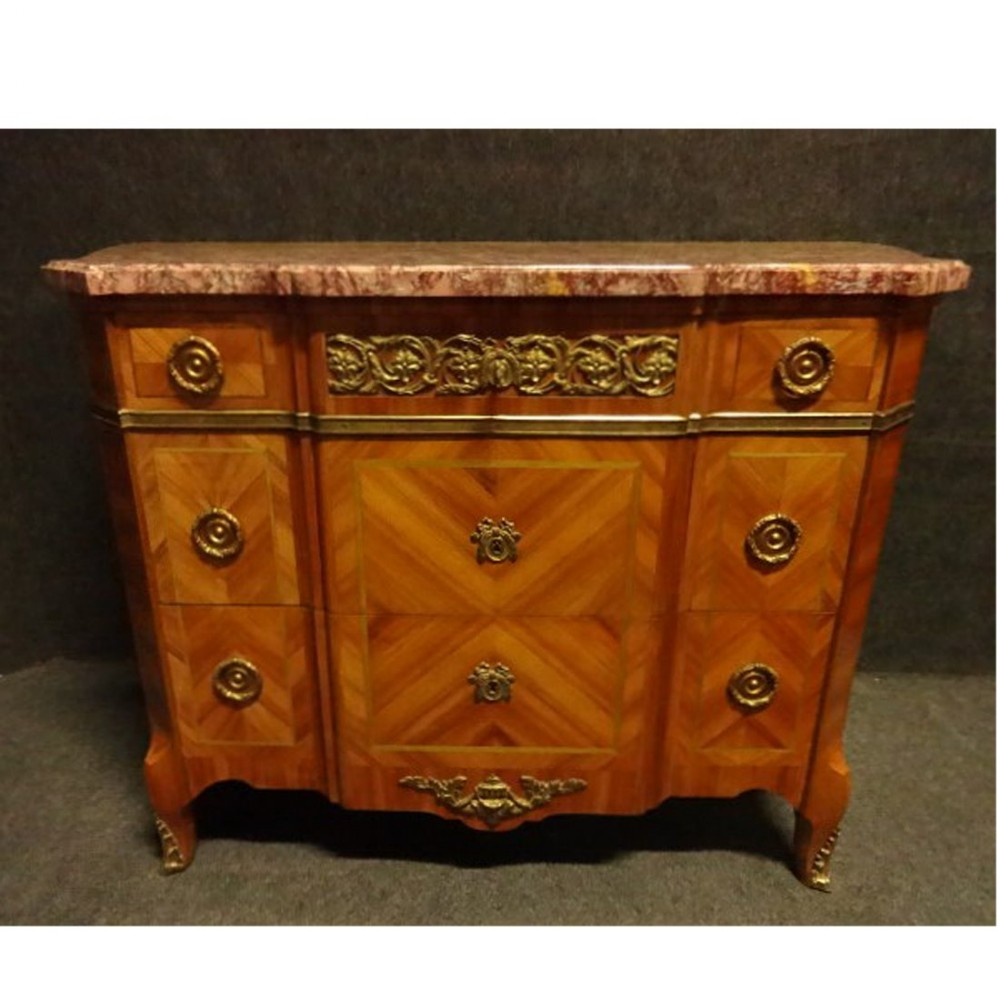 outstanding french tulipwood inlaid commode chest of drawers