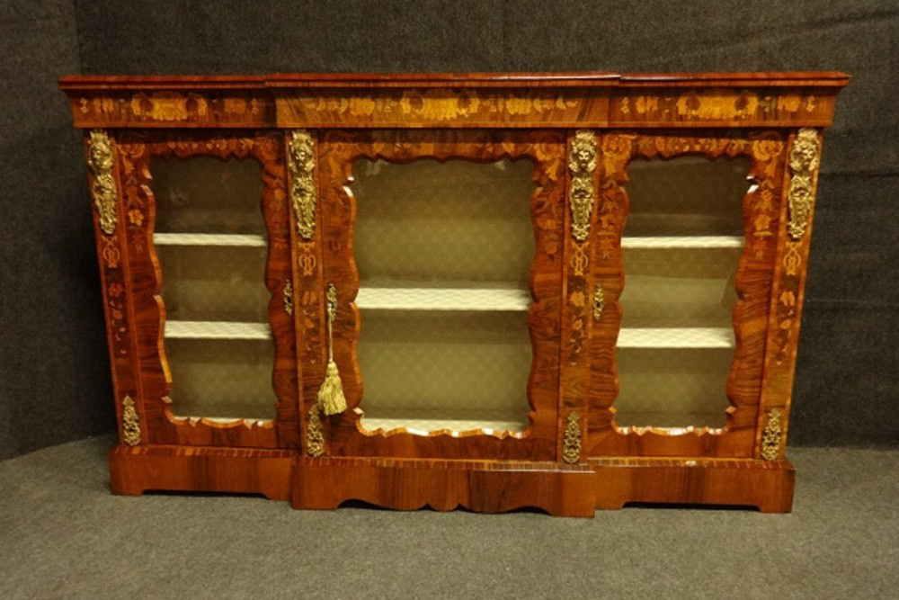outstanding floral marquetry victorian credenza