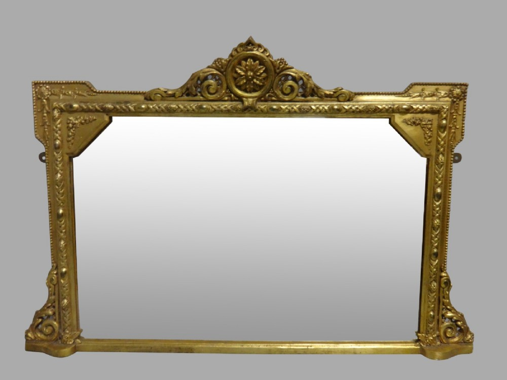 very good victorian english gilt overmantle mirror