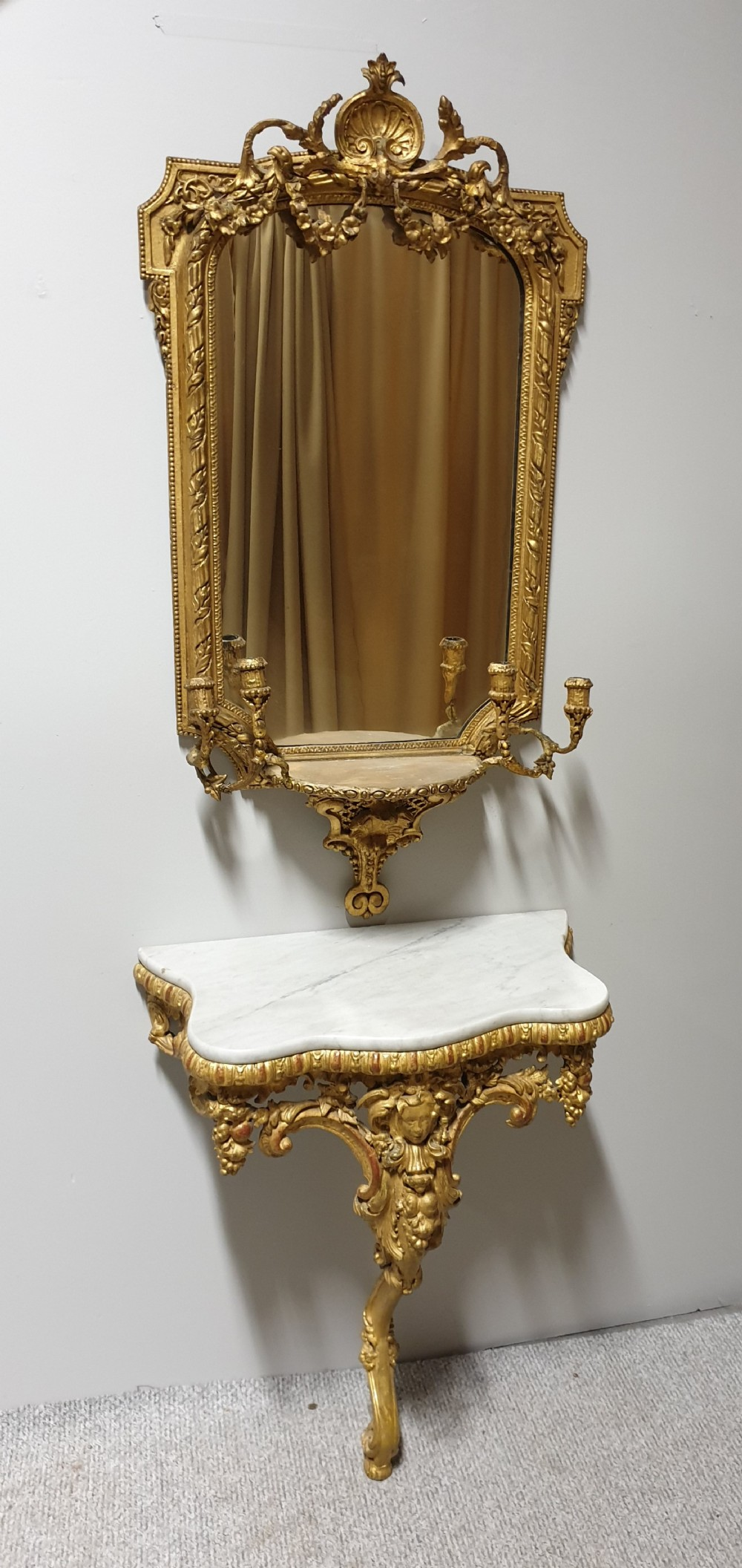 outstanding c18th english gilt console table and mirror