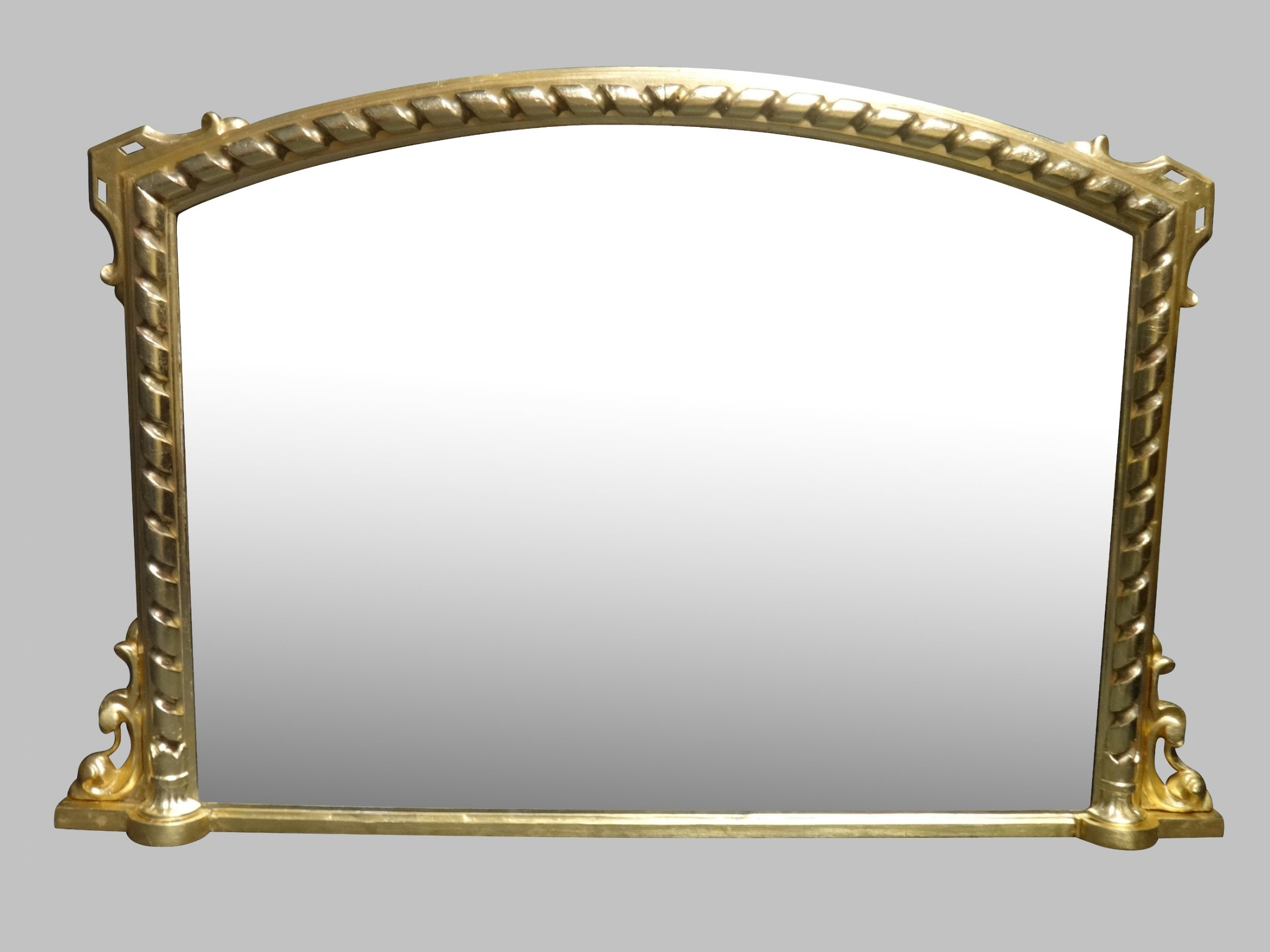 fine english arched top overmantle mirror