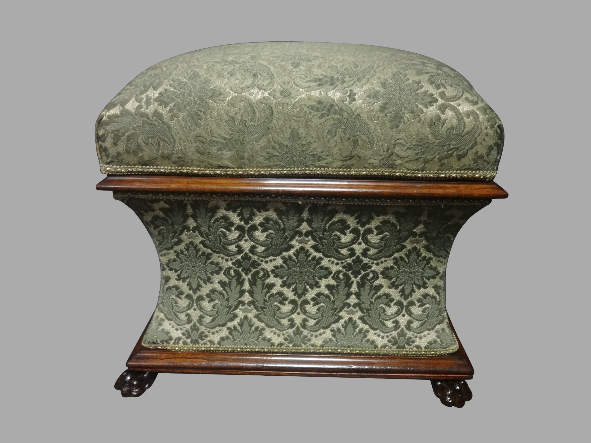 very good regency rosewood waisted ottoman
