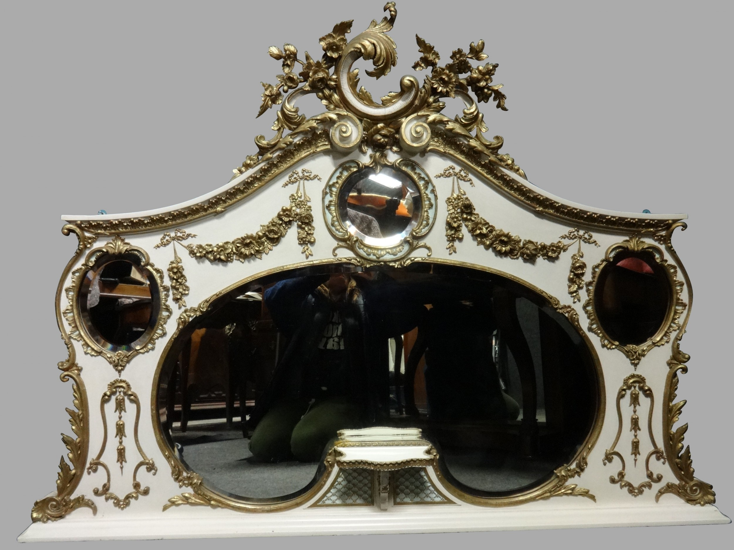 super english painted and parcel gilt overmantle mirror