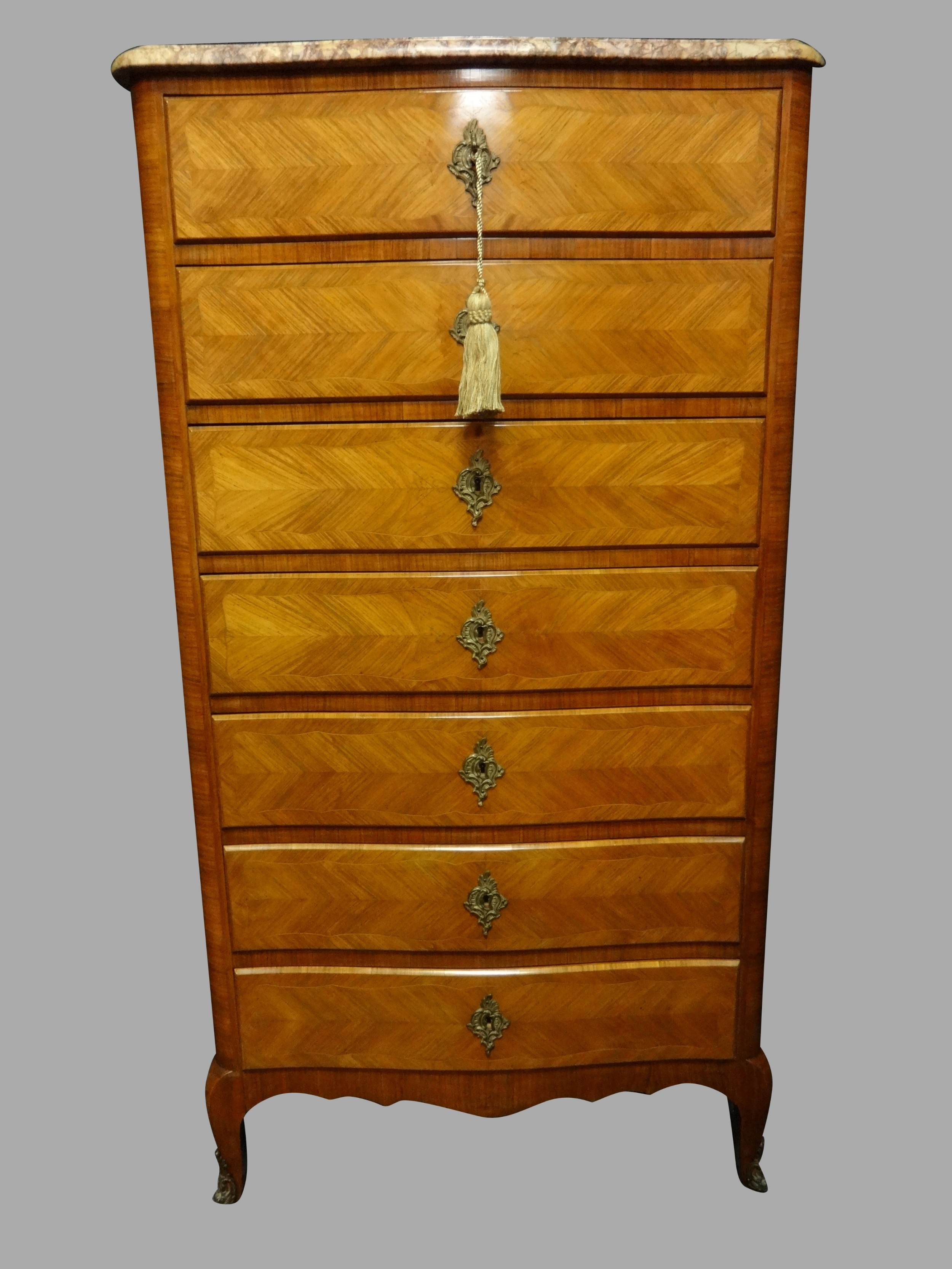 lovely french tulipwood semineer chest of drawers