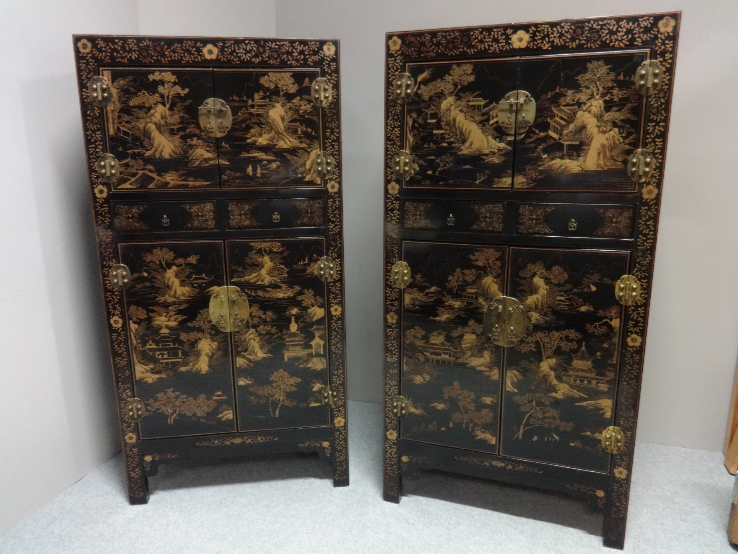 superb pair chinese chinoiserie cabinets