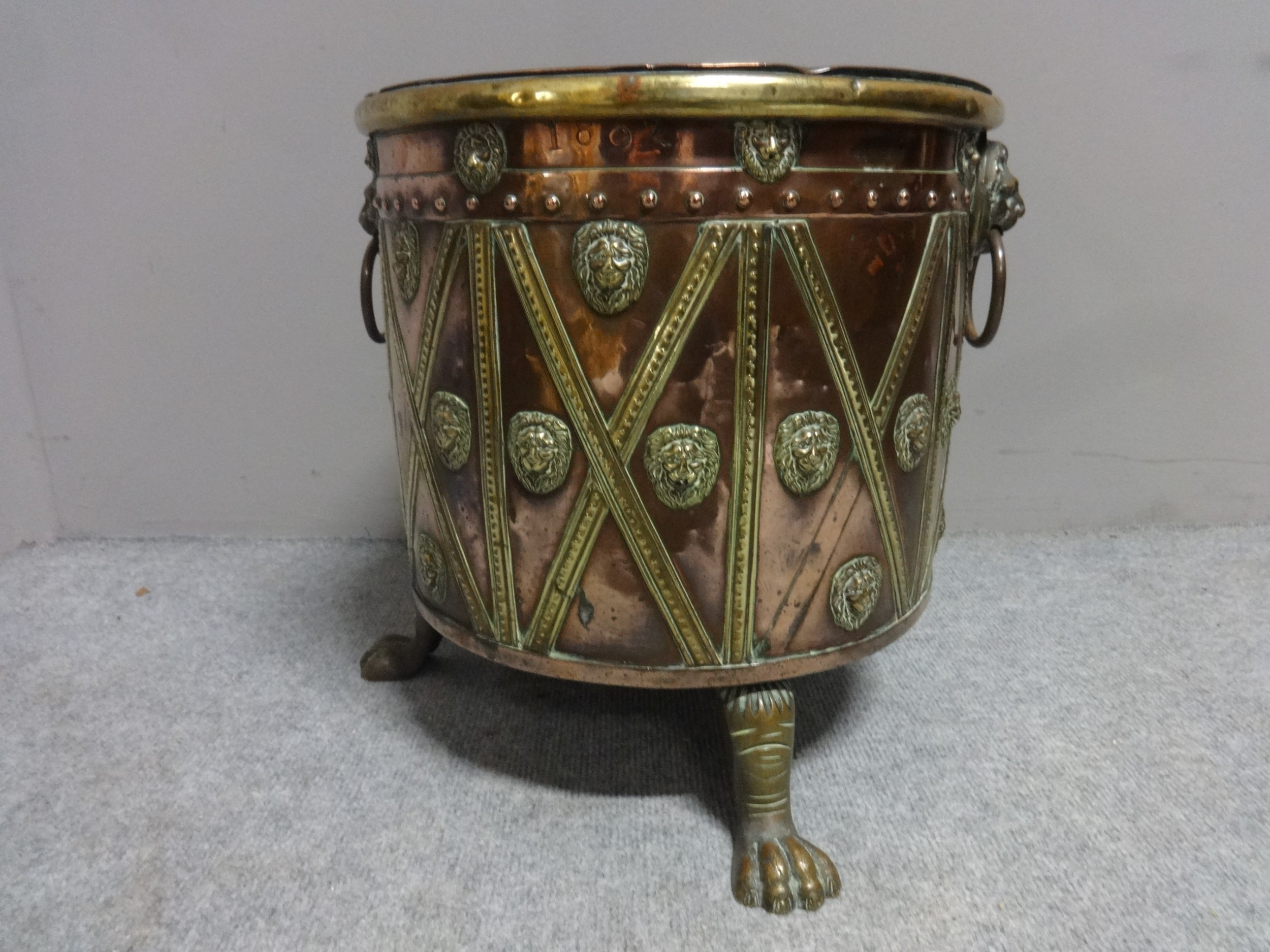 lovely copper and brass dated log bin