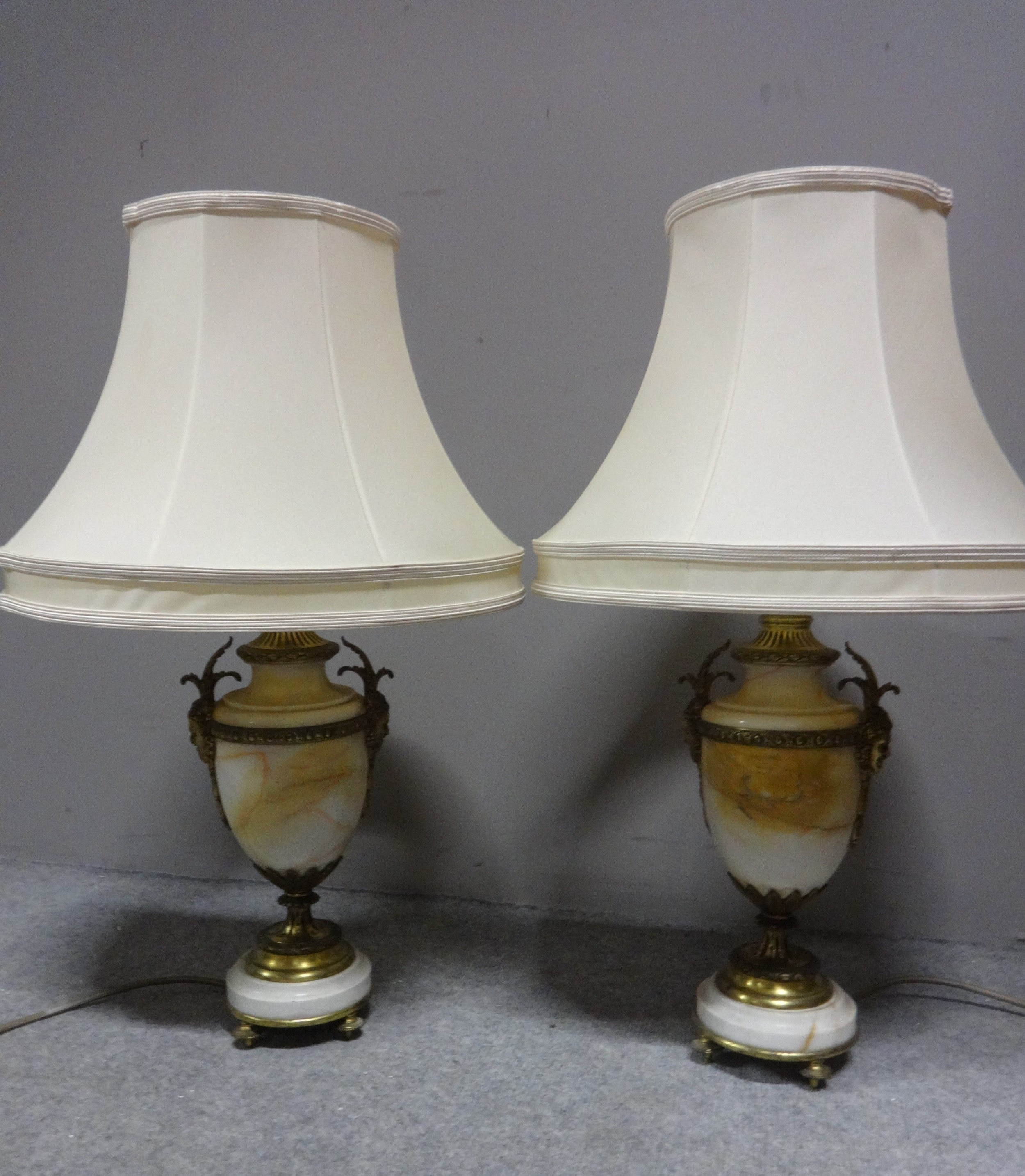 top quality pair french marble table lamps