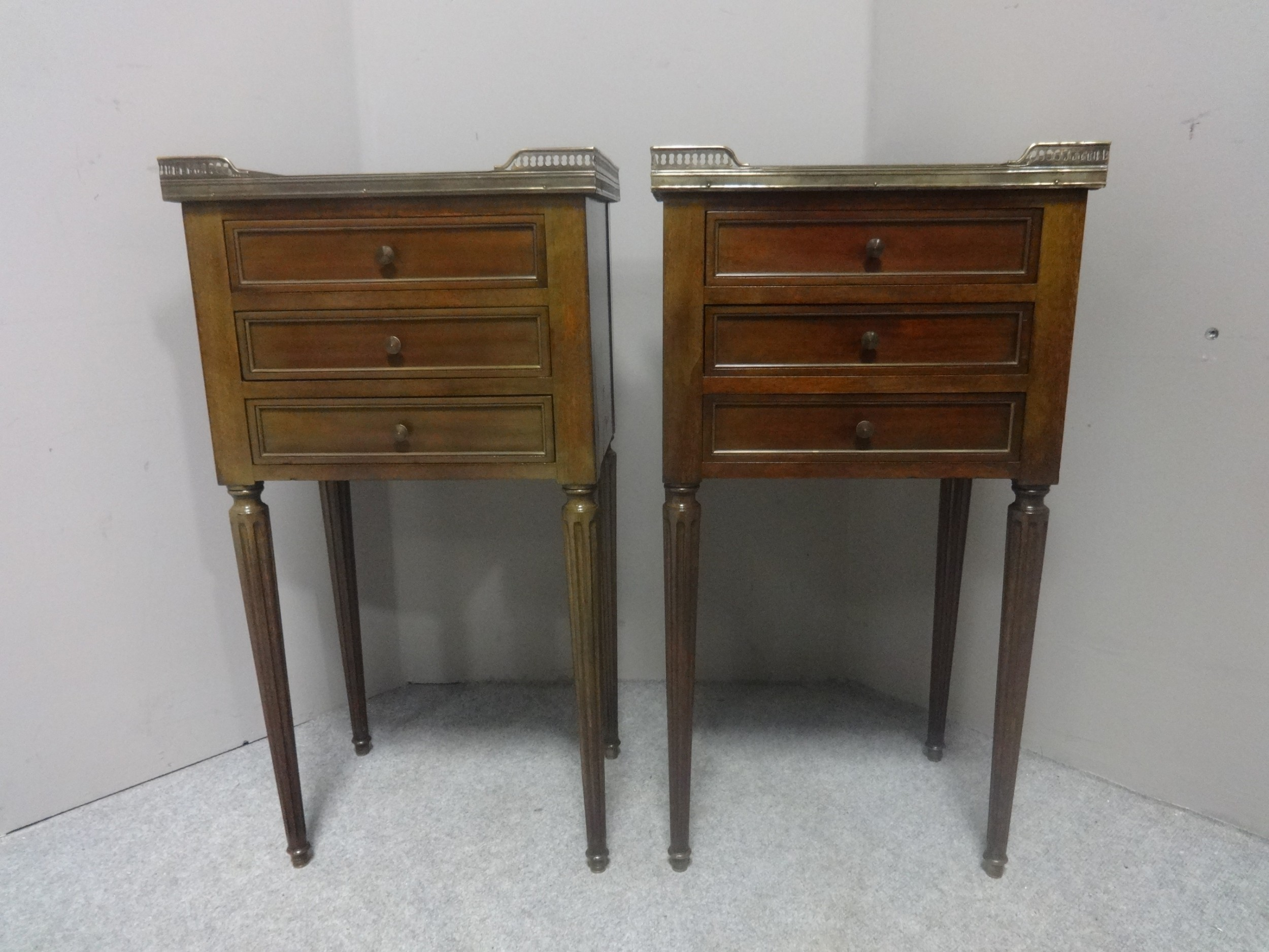good pair french empire bedside chests of drawers