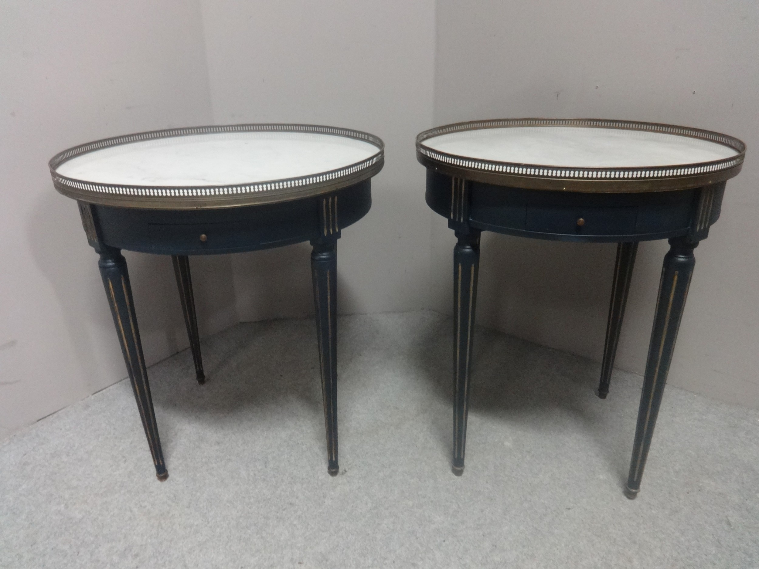 very near pair french marble topped gueridon tables