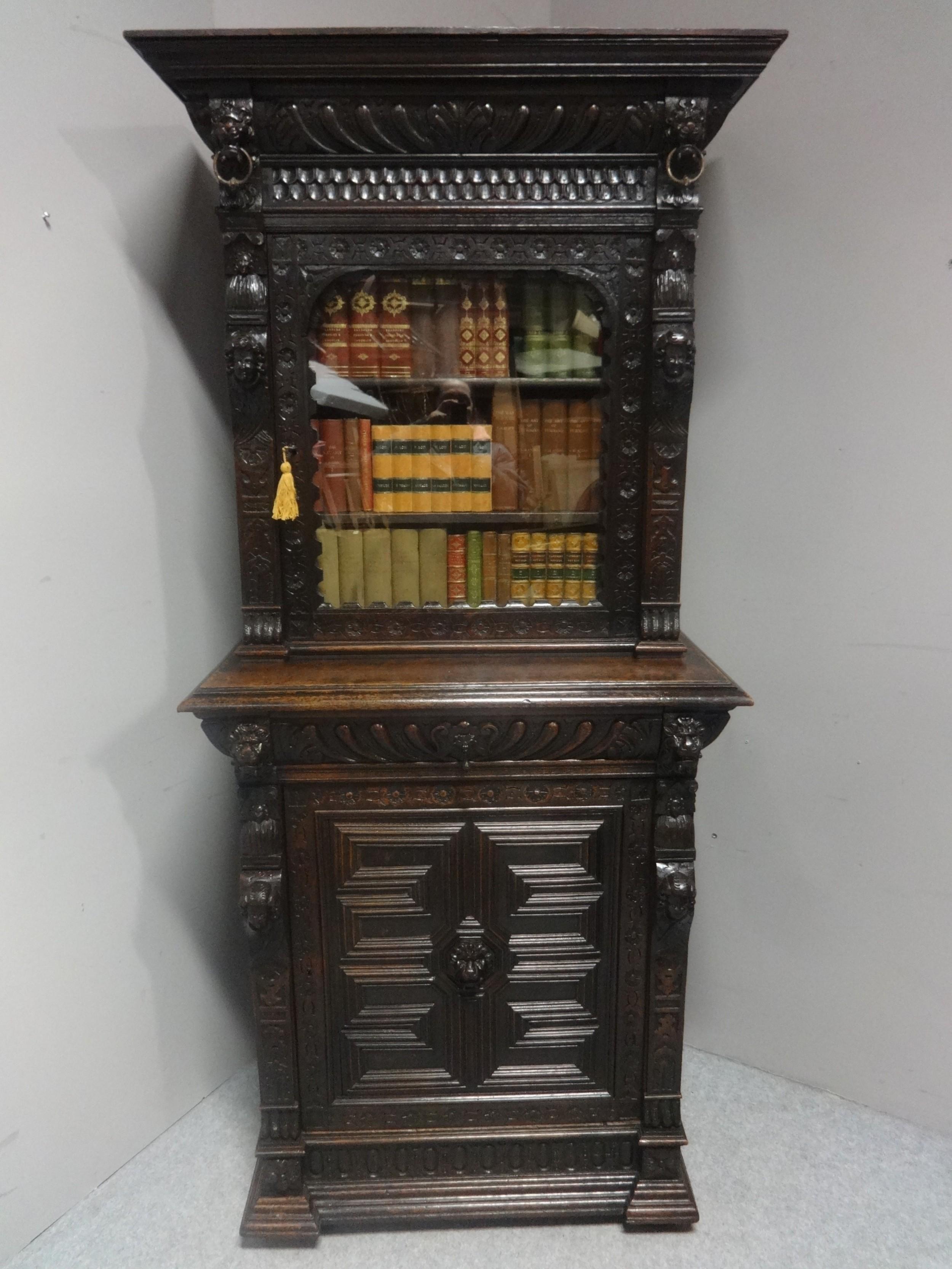 good victorian carved oak bookcase