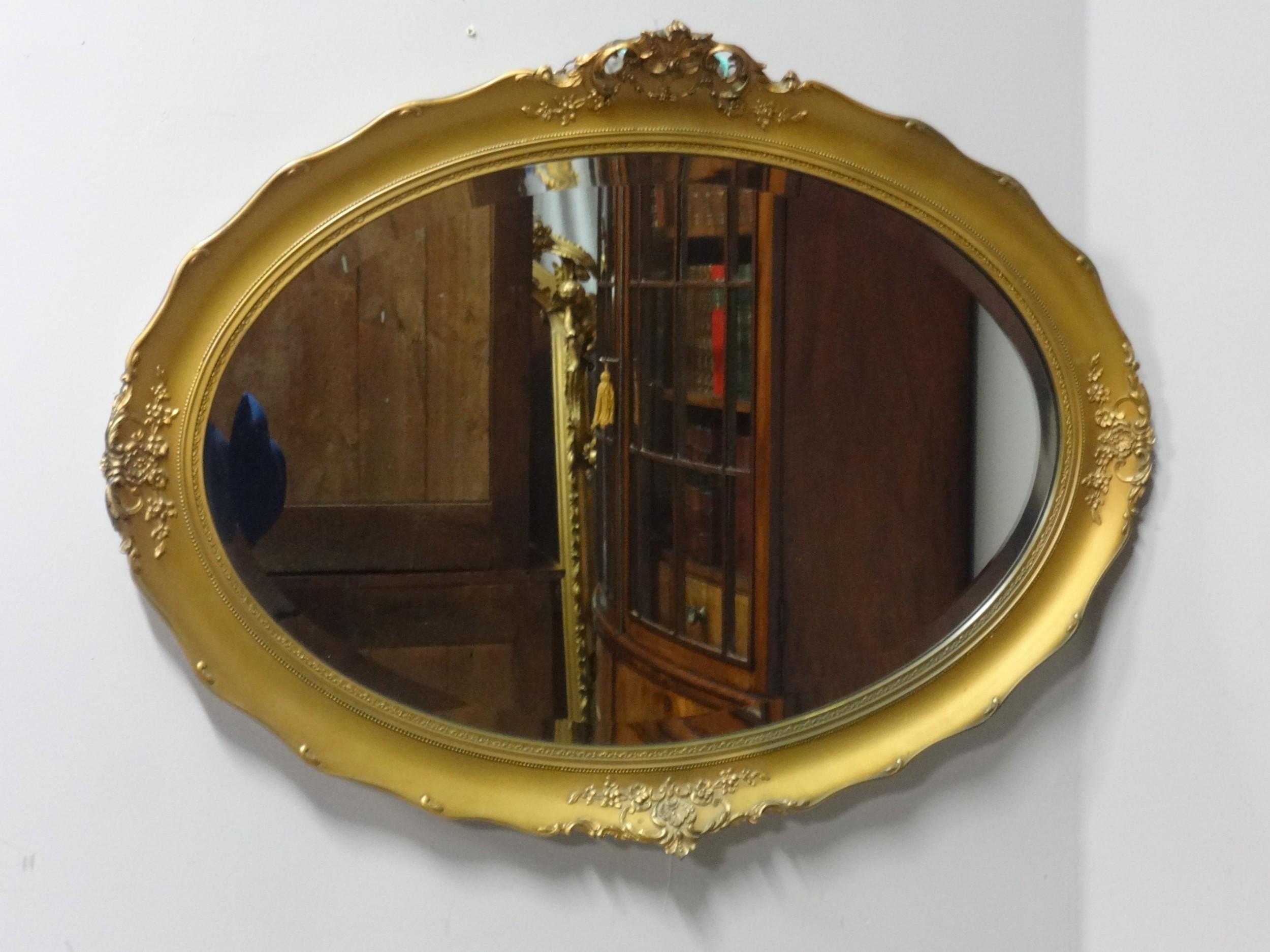 edwardian oval gilt mirror