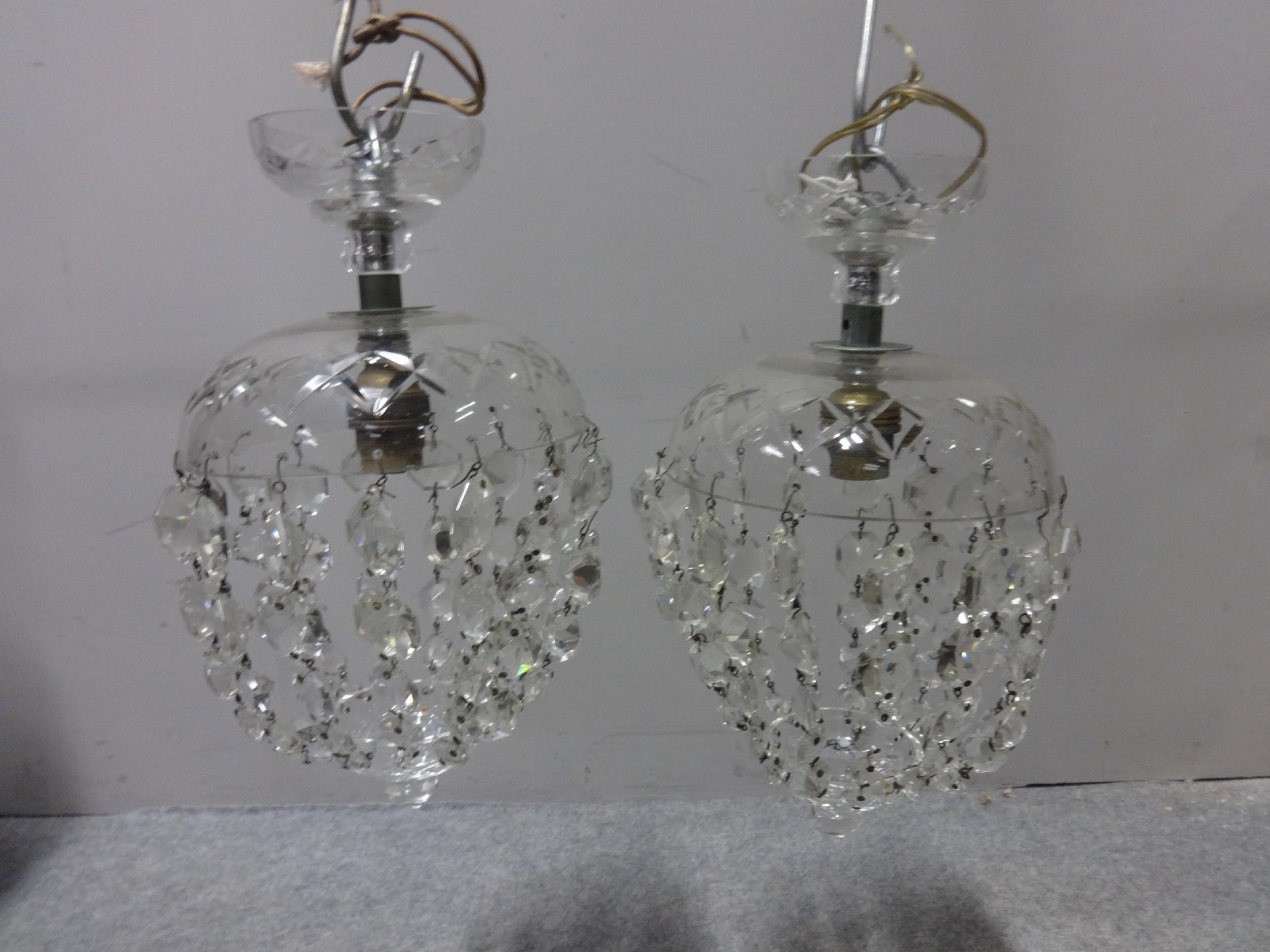 pair cut glass basket lights