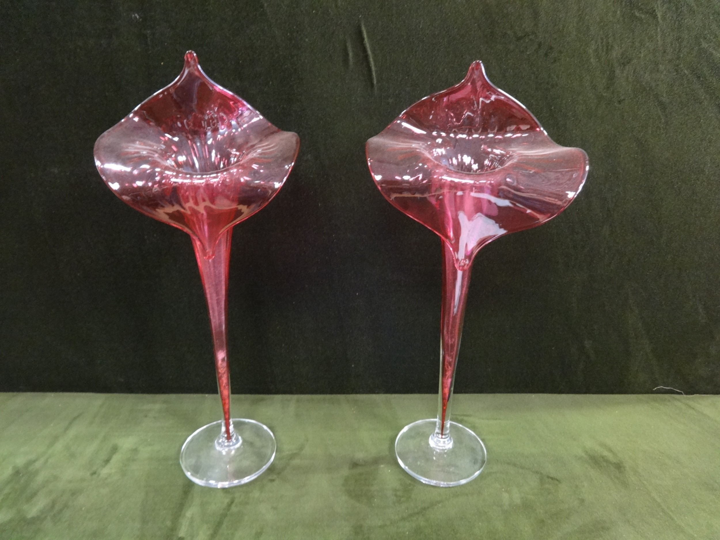large pair victorian cranberry lilly vases